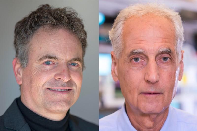 Ingmar Hoer (trái) sáng lập CureVac, và nhà miễn dịch học ung thư Eli Gilboa (phải) sáng lập công ty trị liệu mRNA đầu tiên. Nguồn: Sebastian Gollnow/dpa/Alamy; Eli Gilboa
