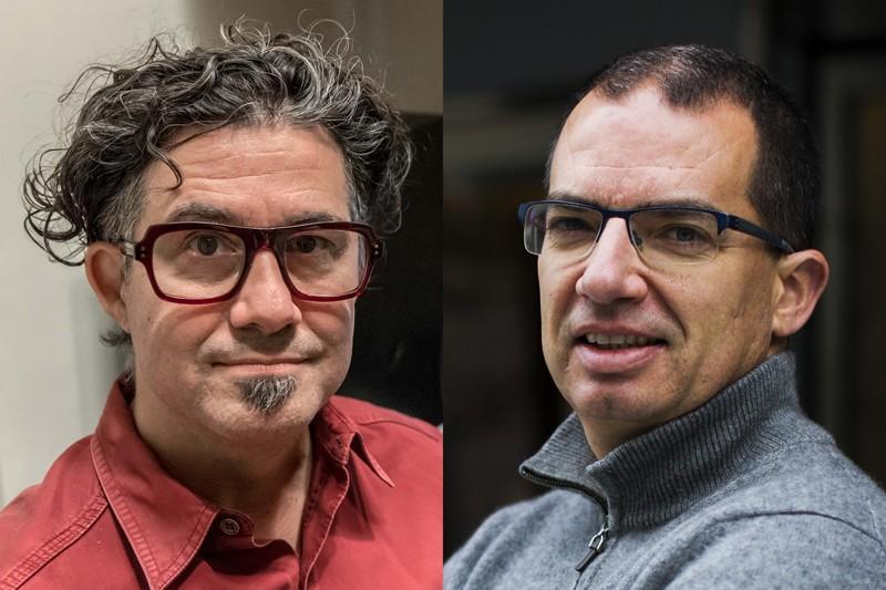 Derick Rossi (trái) và Stéphane Bancel (phải) của Moderna. Nguồn: Derick Rossi; Adam Glanzman/Bloomberg/Getty